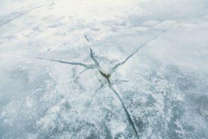 ice crack in ground