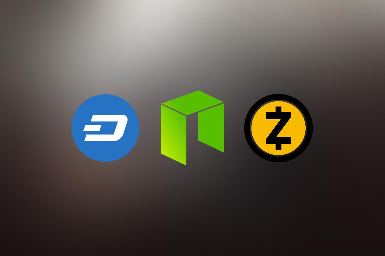 dash neo zcash logo featured